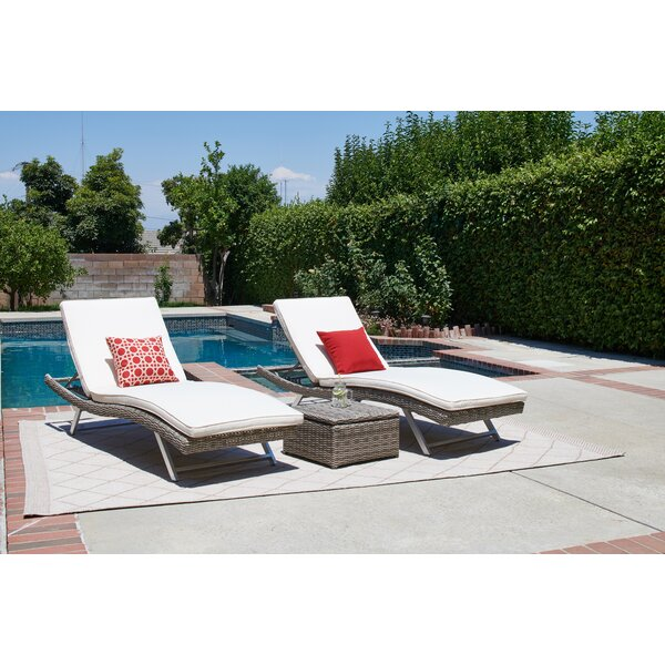 Hollaway Sun Lounger Set With Cushions with Table by Highland Dunes