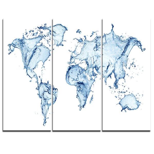 Designart world map water splash 3 piece graphic art on wrapped designart world map water splash 3 piece graphic art on wrapped canvas set wayfair gumiabroncs Images