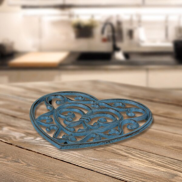 Rustic Turquoise Heart Shaped Cast Iron Trivet by Fleur De Lis Living