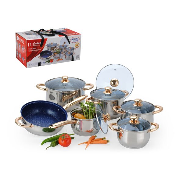 12 Piece Jumbo Stainless Steel Cookware Set by Alpine Cuisine