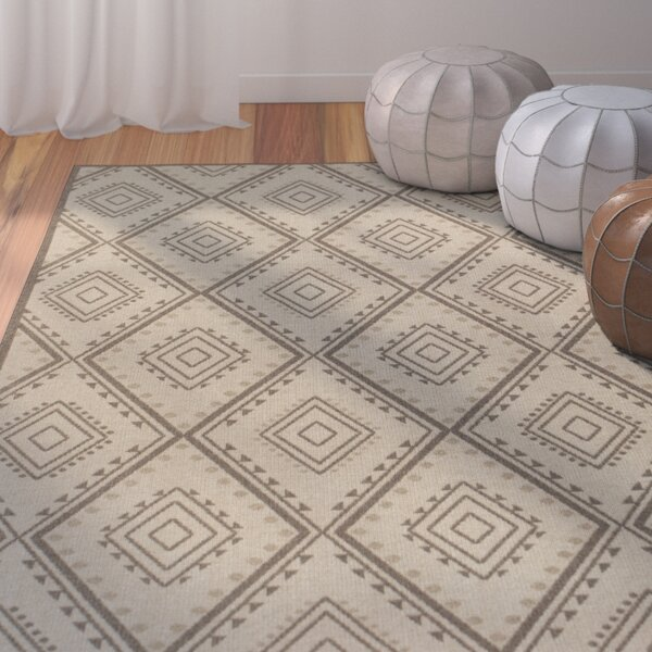 Cretien Flat Woven Wool Ivory Area Rug by Bungalow Rose