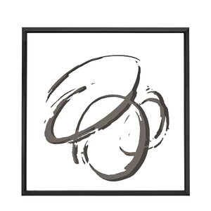 Chic Square Abstract Circle Framed Painting Print on Canvas by Majestic Mirror