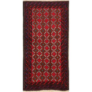 Bargain One-of-a-Kind Mccallum Balouch Bokhara Persian Hand-Knotted 3'1 x 5'10 Wool Red/Black Area Rug By Isabelline