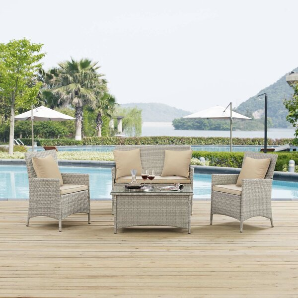 Azucena 4 Piece Rattan Sofa Set with Cushions by Orren Ellis
