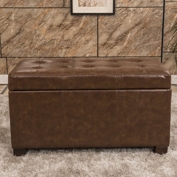 Elegant Waxed Texture Tufted Storage Ottoman by Bellasario Collection