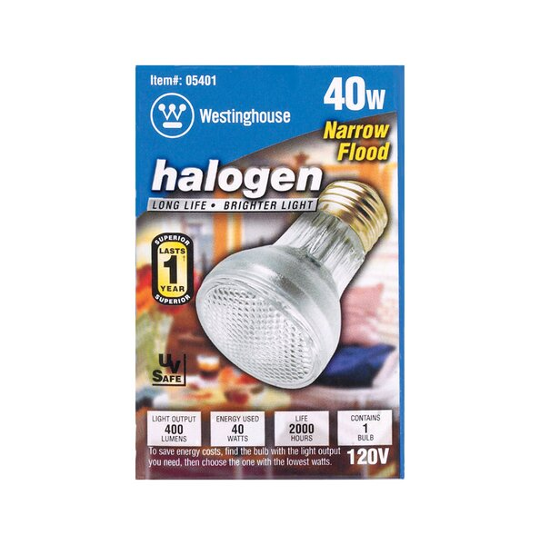 40W E26 Dimmable Halogen Floodlight Light Bulb by Westinghouse Lighting