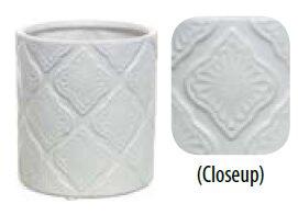 Tin Design Cylinder Ceramic Pot Planter by Bungalow Rose