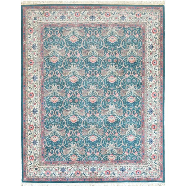 Arts and Crafts Fine Hand-Knotted Wool Aqua Indoor Area Rug by Mansour