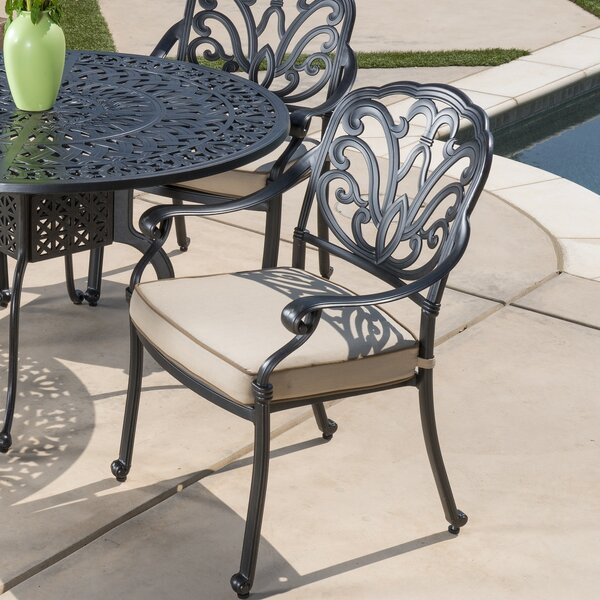 Dunnes Stationary Stacking Patio Dining Chair with Cushion by Darby Home Co Darby Home Co