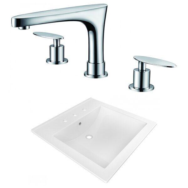 Ceramic Rectangular Drop-In Bathroom Sink with Faucet and Overflow by American Imaginations