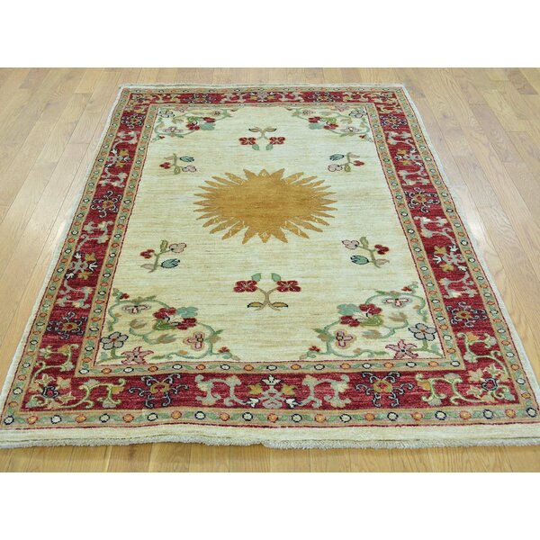 One-of-a-Kind Beaumont Bursting Sun Hand-Knotted Ivory Wool Area Rug by Isabelline