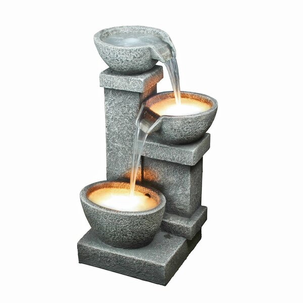 Resin Cascading 3 Bowl Fountain with LED Light by Wildon Home ®