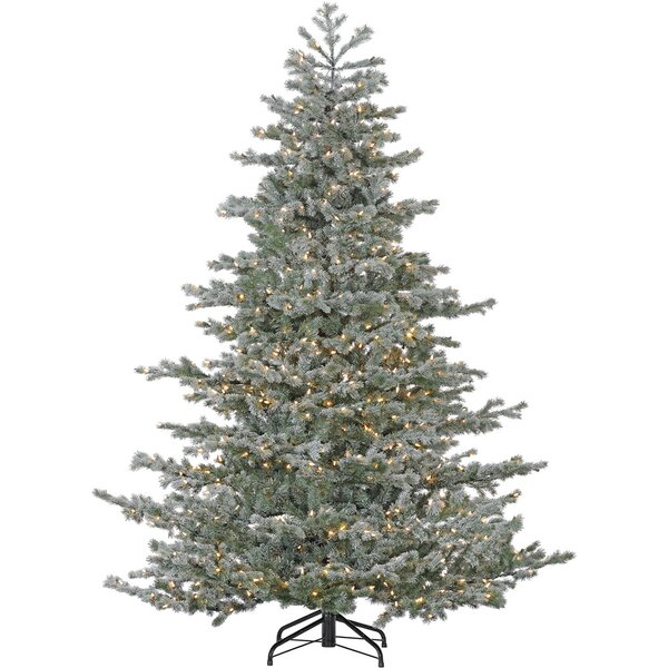 Oregon Green/Snow Fir Trees Artificial Christmas Tree with 1200 with White HLED String Lighting by The Holiday Aisle