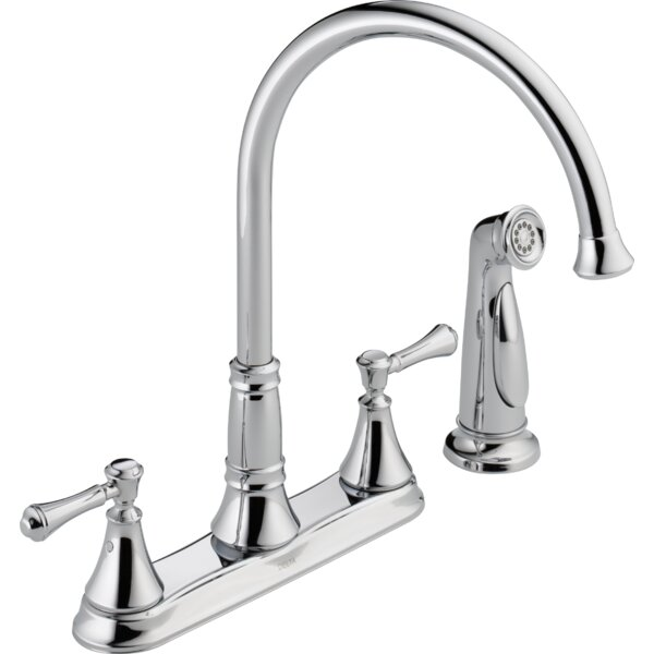 Cassidy Double Handle Kitchen Faucet with Side Spray and Diamond Seal by Delta