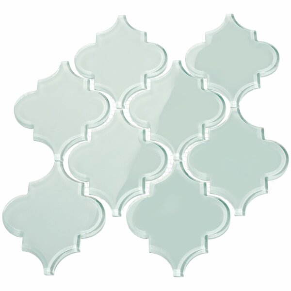 Water Jet 3.9 x 4.7 Glass Mosaic Tile in Baby Blue by Giorbello