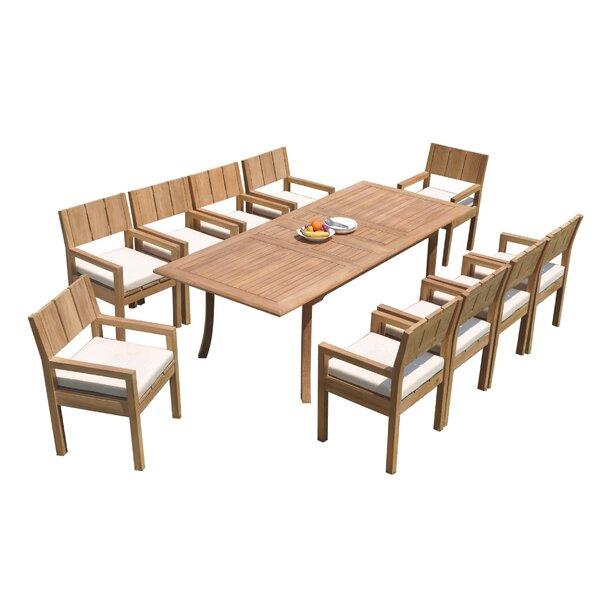 Idora 11 Piece Teak Dining Set by Rosecliff Heights