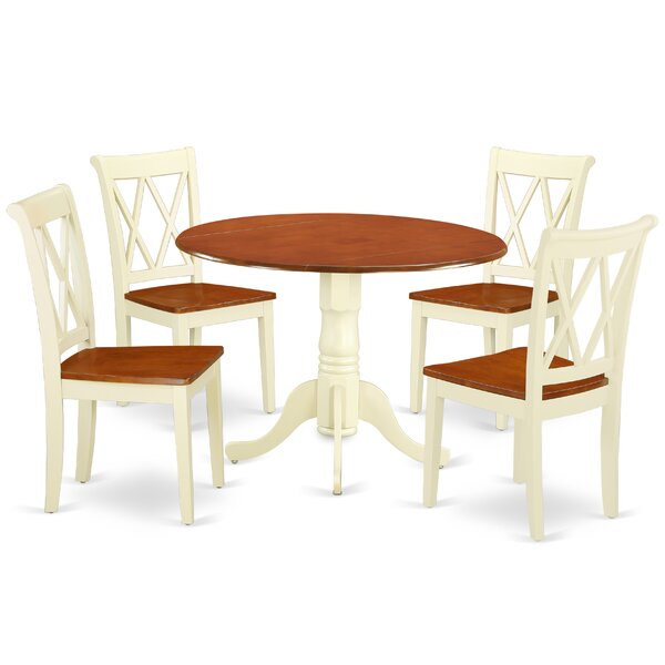 Lago Vista 5 Piece Drop Leaf Solid Wood Dining Set by August Grove