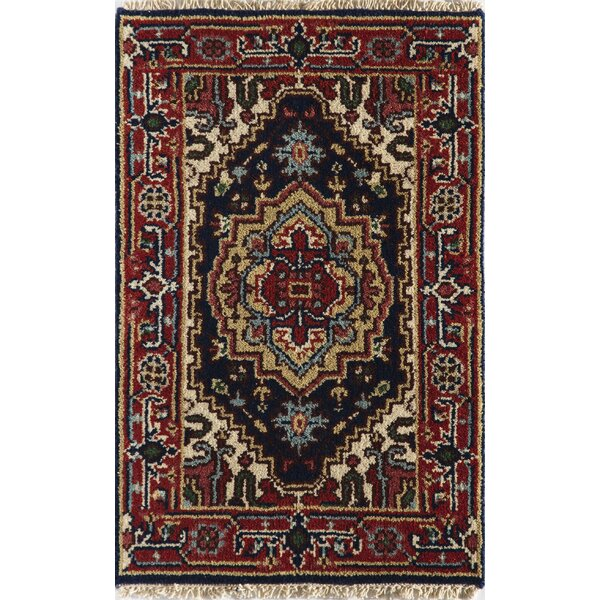 Oriole Hand-Knotted Wool Navy Blue/Red Area Rug by World Menagerie