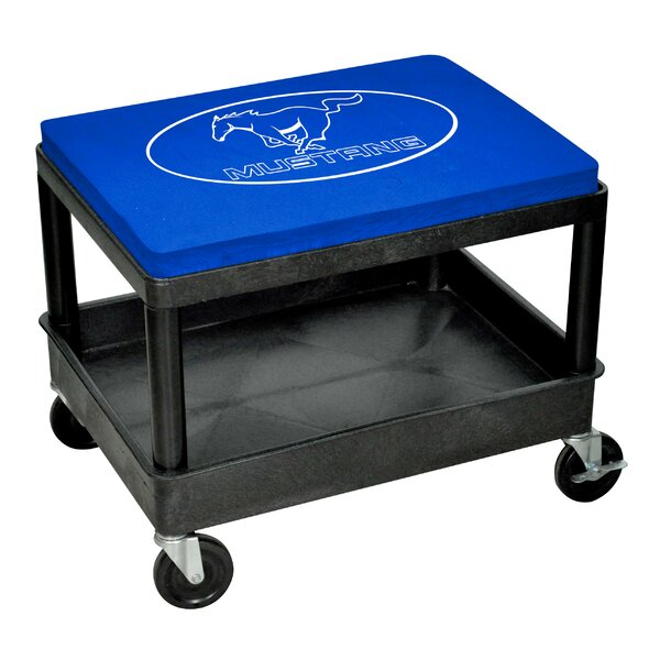 Mustang Mechanic Industrial Stool with Cushion by Go Boxes LLC