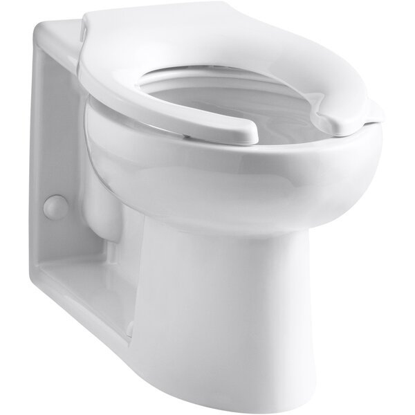 Anglesey™ Floor-Mounted Wall-Outlet 1.6 GPF Flushometer Valve Elongated Bowl with Rear Inlet, Antimicrobial by Kohler