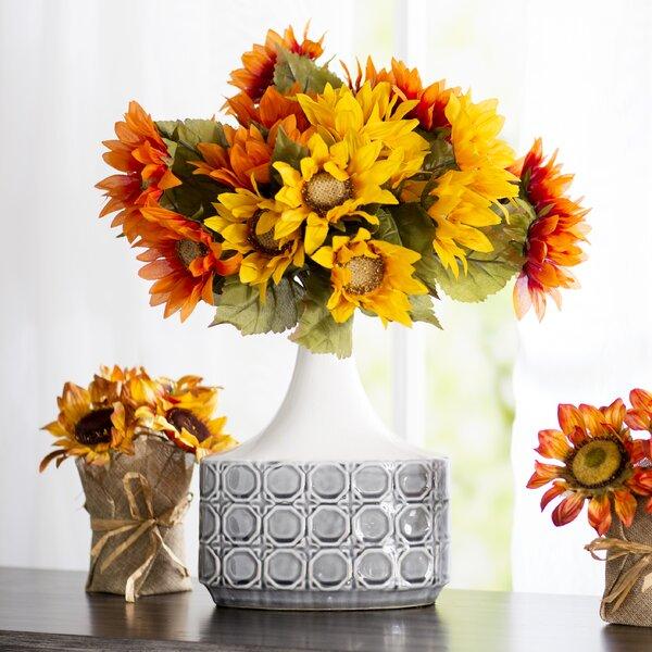 Sunflower Assortment Bush Flowers (Set of 12) by August Grove