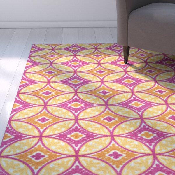 Dorinda Pink/Yellow Geometric Indoor/Outdoor Area Rug by Ebern Designs