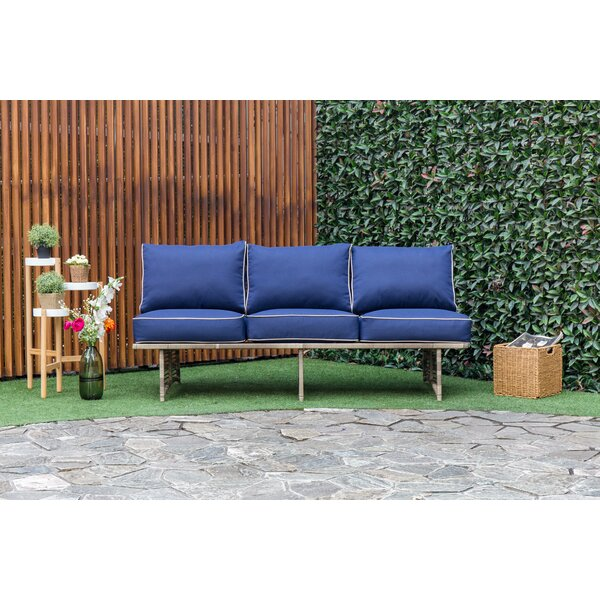 Dakota Outdoor Rattan Patio Sofa with Cushions by Bay Isle Home