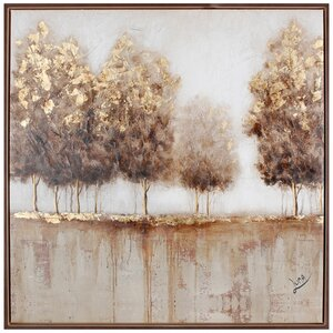 Golden Tree I by Luna M. Framed Painting Print on Wrapped Canvas by Hobbitholeco.