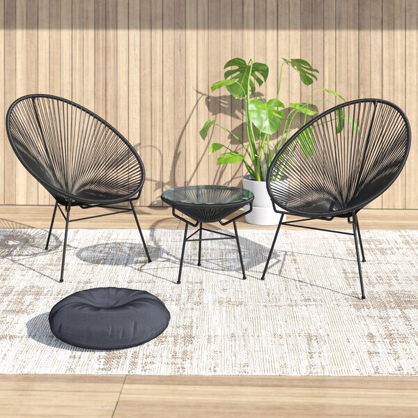 Ehrlich 3 Piece Rattan Seating Group by Ivy Bronx