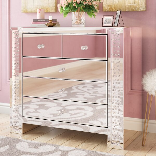 Lasater Crystal 5 Drawer Accent Chest by Rosdorf Park Rosdorf Park