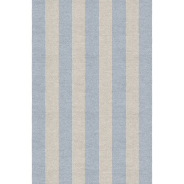 Clearwater Stripe Hand-Woven Wool Silver/Light Blue Area Rug by Rosecliff Heights