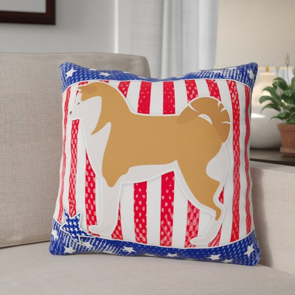 Patriotic Blue/Red Solid Pattern Indoor/Outdoor Throw Pillow by The Holiday Aisle