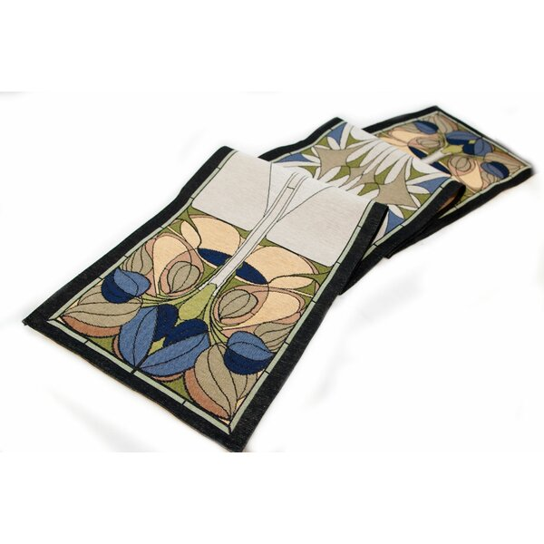 Arts and Crafts Art Nouveau Floral Window Table Runner by Rennie & Rose Design Group