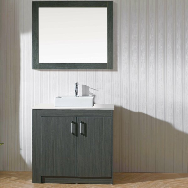 Glen Ridge 36 Single Bathroom Vanity Set with White Top and Mirror by Wade Logan