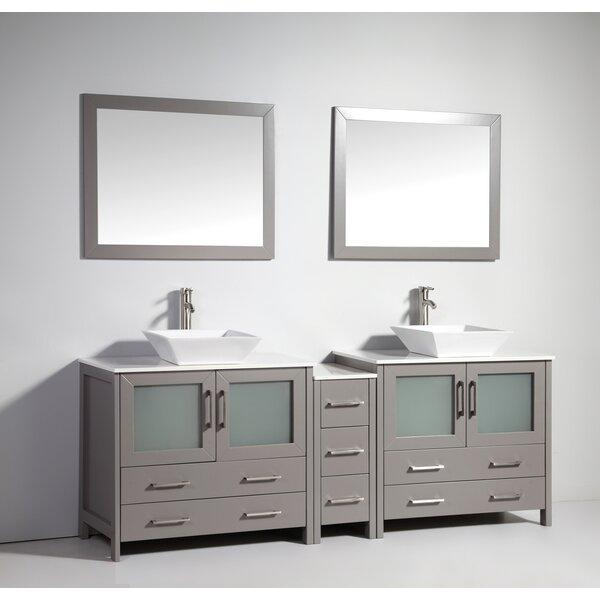 Karson Wooden 84 Double Bathroom Vanity Set with Mirror by Wade Logan