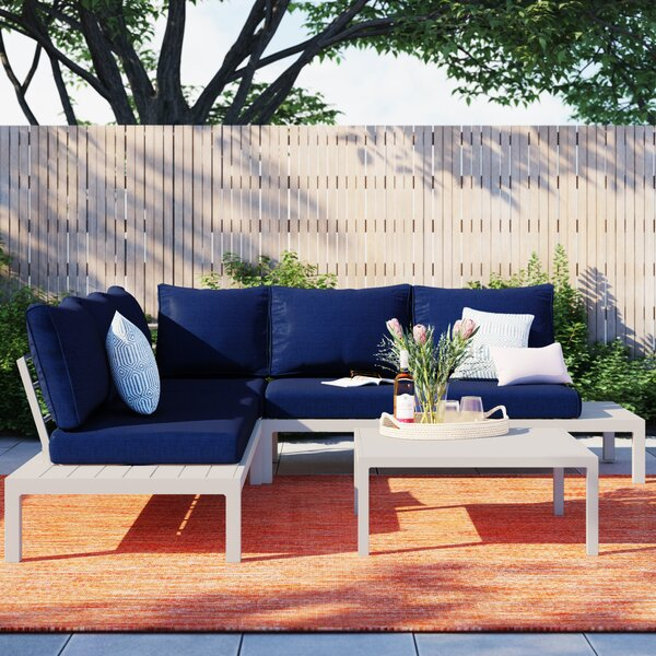 August Euart Outdoor 4 Piece Sectional Seating Group with Cushions by Foundstone