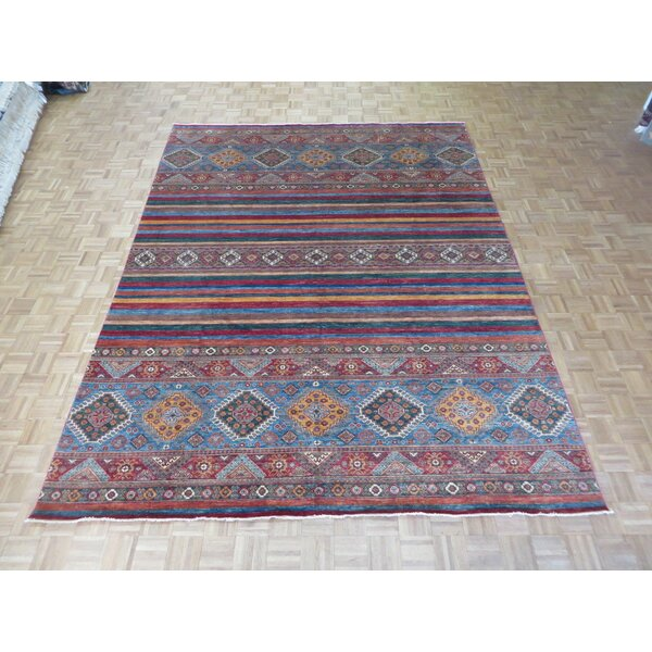 One-of-a-Kind Padula Tribal Hand-Knotted Wool Red/Green Area Rug by Bloomsbury Market