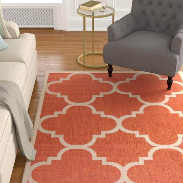 Octavius Natural/Terracotta Outdoor Area Rug by Charlton Home