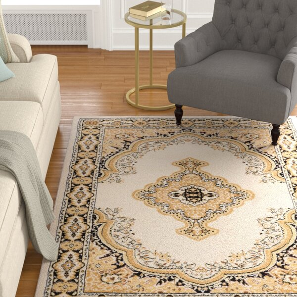 Aldenport Medallion Power Loom Ivory Indoor Area Rug by Charlton Home
