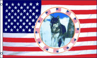 USA Single Wolf Traditional Flag by Flags Importer