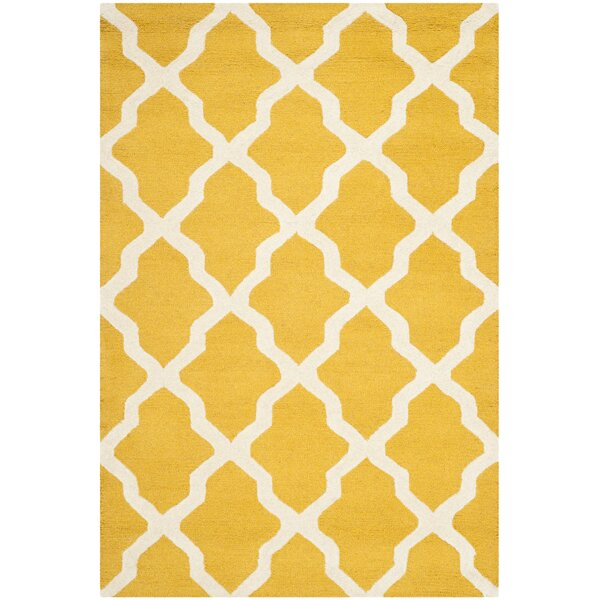 Charlenne Tufted/Hooked Wool Gold & Ivory Indoor Area Rug by Zipcode Design
