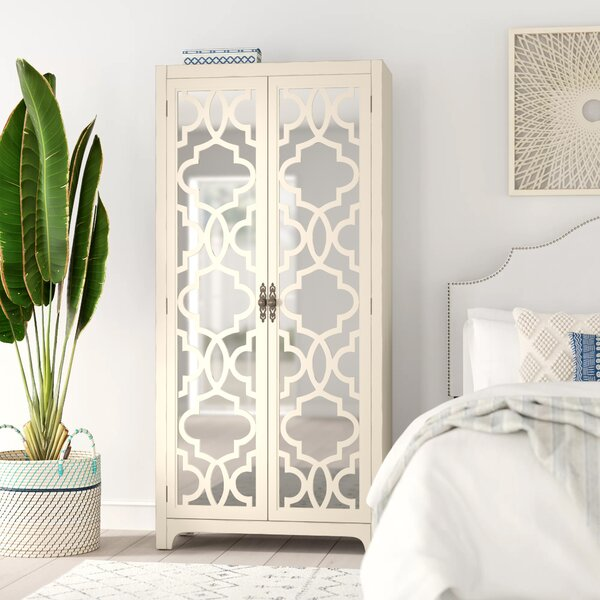Jolley Greige Mirrored Armoire by Bungalow Rose