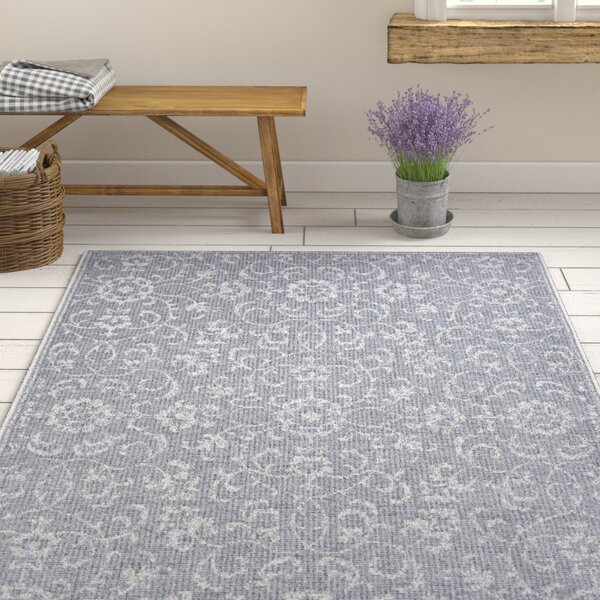 Kraatz Vines Dark Gray/Ivory Indoor/Outdoor Area Rug by Ophelia & Co.