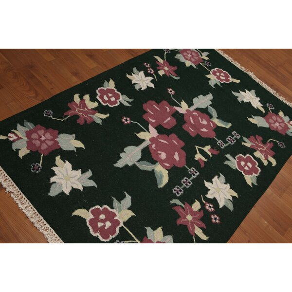 One-of-a-Kind Gaius Dhurry Kilim Reversible Hand-Woven Green/Black/Pink Area Rug by Astoria Grand
