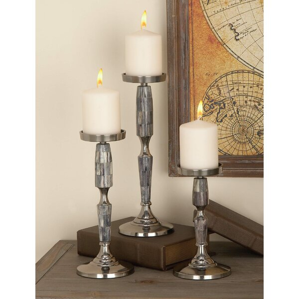 3 Piece Aluminum Candlestick Set by Cole & Grey