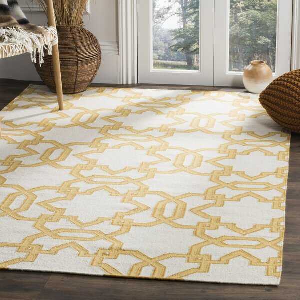 Dhurries Wool Orange/Ivory Area Rug by Safavieh