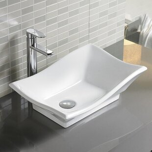 Bon Ceramic Rectangular Vessel Bathroom Sink