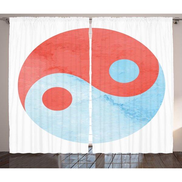 Bergen Beach Ying Yang Watercolor Asian Arts Culture Theme Zen Balance Harmony Abstract Art Graphic Print & Text Semi-Sheer Rod Pocket Curtain Panels (Set of 2) by Latitude Run
