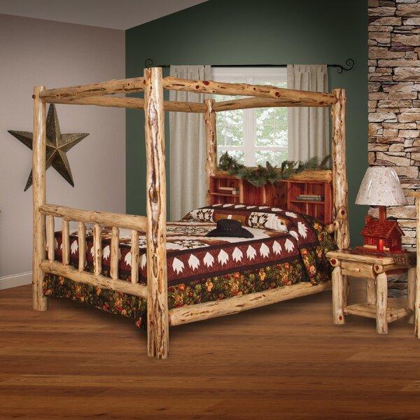 Tulane Red Cedar Log Canopy Bed by Loon Peak