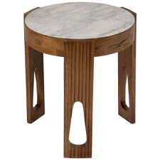 Briela Deco Marble and Wood End Table by World Menagerie